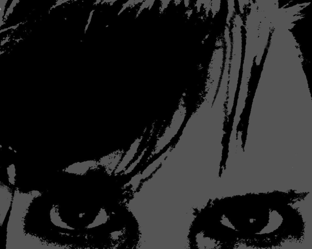 Verfremdetes Portrait, nur Ponyfransen und Augen, schwarz auf grau