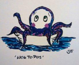 Cartoon. Zeichnung eines Tintenfischs/Oktopus, der in einem Wok sitzend auf dem Wasser treibt. Wok-topus