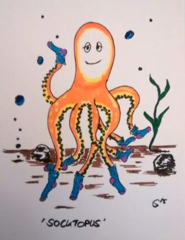 Cartoon. Zeichnung eines Tintenfisch/Oktopus, der an jedem Arm eine Socke trägt - Sock-topus